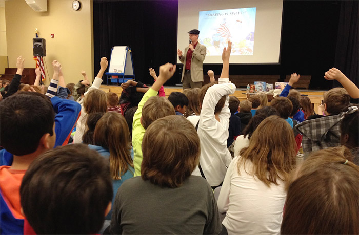 Bruce Hale taking questions and answers during a school visit