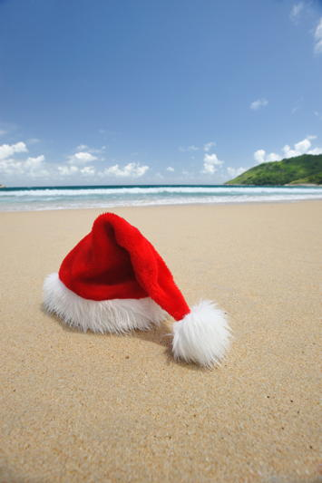 Santa Hat on a sandy beach