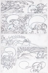 Rough sketch of a graphic novel page.
