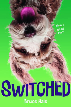 Book cover showing an upside down dog